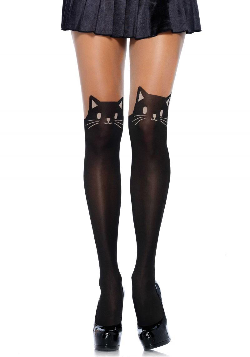 Black cat opaque tights